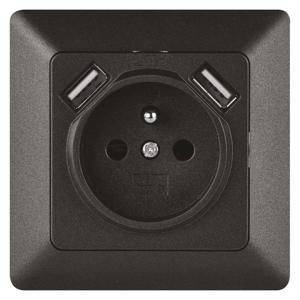 EMOS Zásuvka s USB 2,1A max. antracit A6000.2