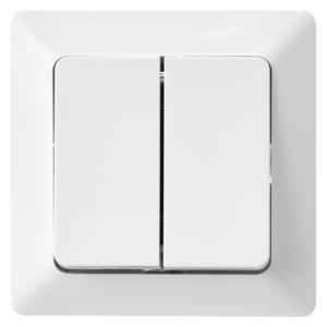 EMOS Biely prepínač dvojitý striedavý č. 6+6 A6100.3