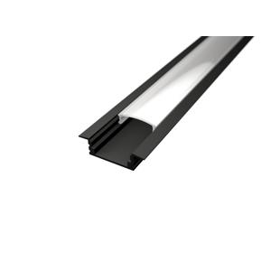 LED Solution Vstavaný profil pre LED pásiky V1 čierny varianty: Profil + Nacvakávací opálový kryt 1m